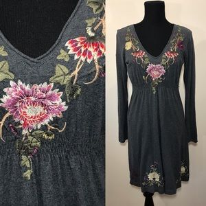 Johnny Was Floral Embroidered Dress V Neck Gray S